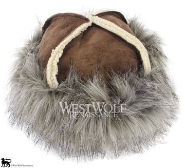 Grey Wolf Fur-Trimmed Viking Hat