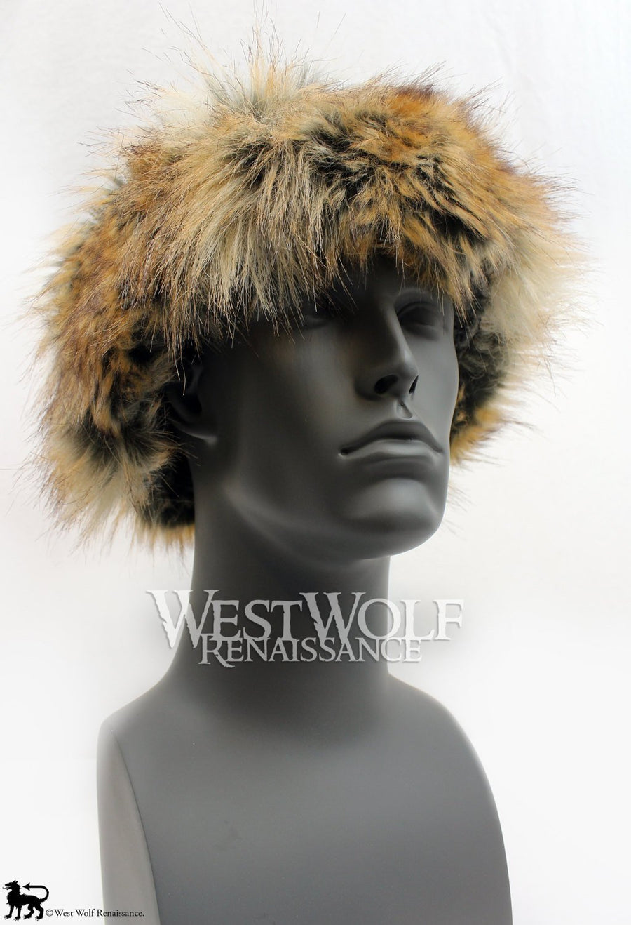 Red and Grey Fox Fur-Trimmed Viking Hat with Black Suede Top - (Faux Fur)