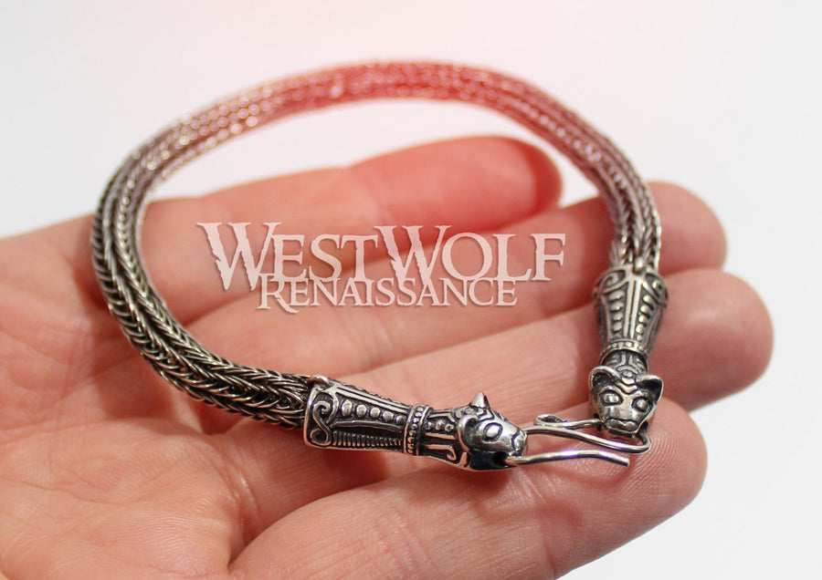 Viking Braided Knit Bear Head Bracelet in 925 Sterling Silver
