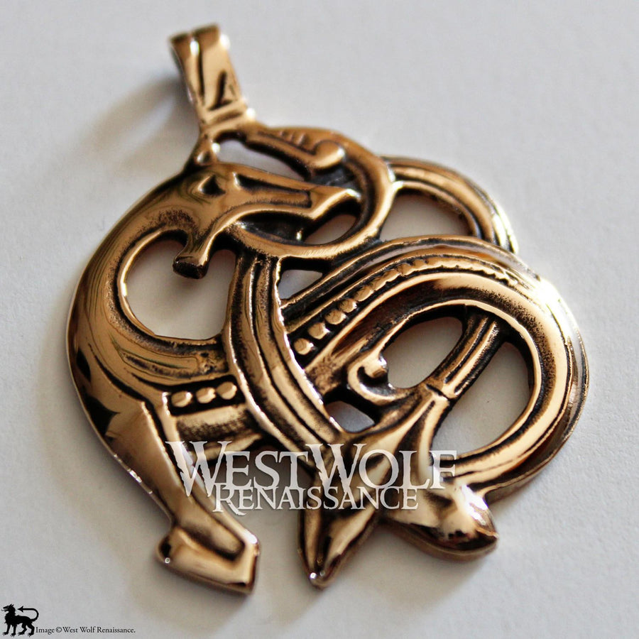 Polished Bronze Viking Sea Dragon Pendant