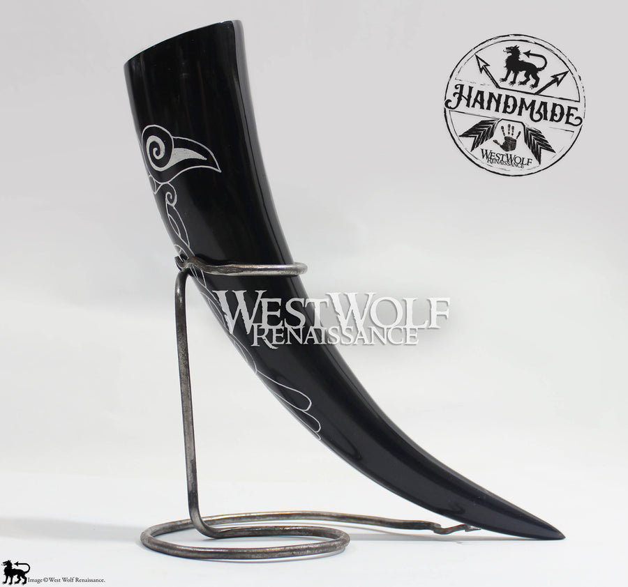 Hand-Carved Viking Raven Drinking Horn + Forged Iron Stand