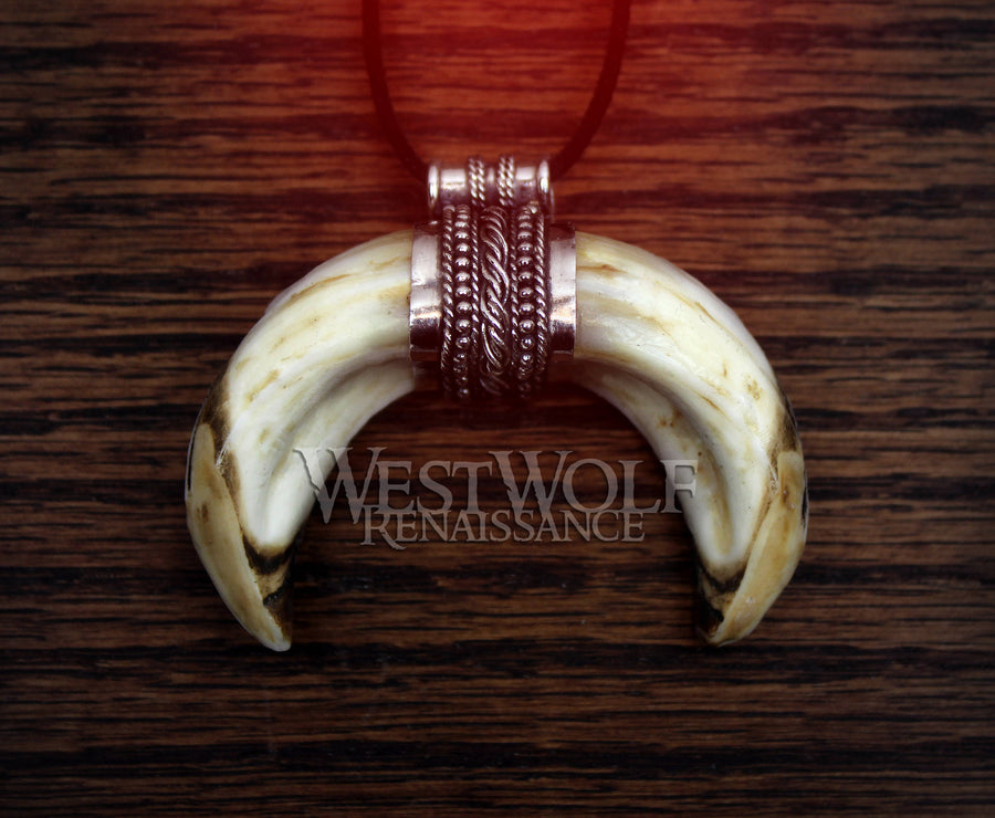Viking Boar Tusk Pendant in Sterling Silver