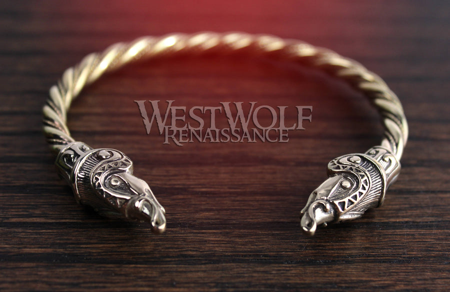 Gold Viking Jormugand Sea Dragon Bracelet