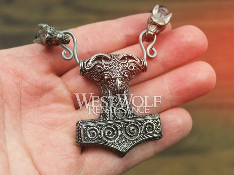 Viking Raven Hammer Mjolnir Pendant with Braided Leather Wolf Head Necklace