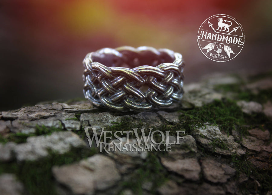 Celtic Knot Ring - Braided or Knotted Fixed-Size Ring - 925 Sterling Silver Plated - US Size 10