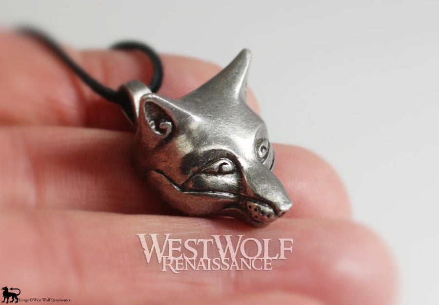 Silver Celtic Fox Head Pendant