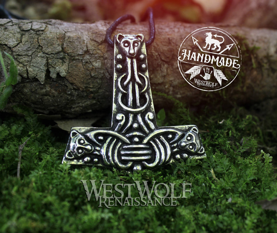 Silver Viking Thor's Hammer Pendant with Wolf Pups
