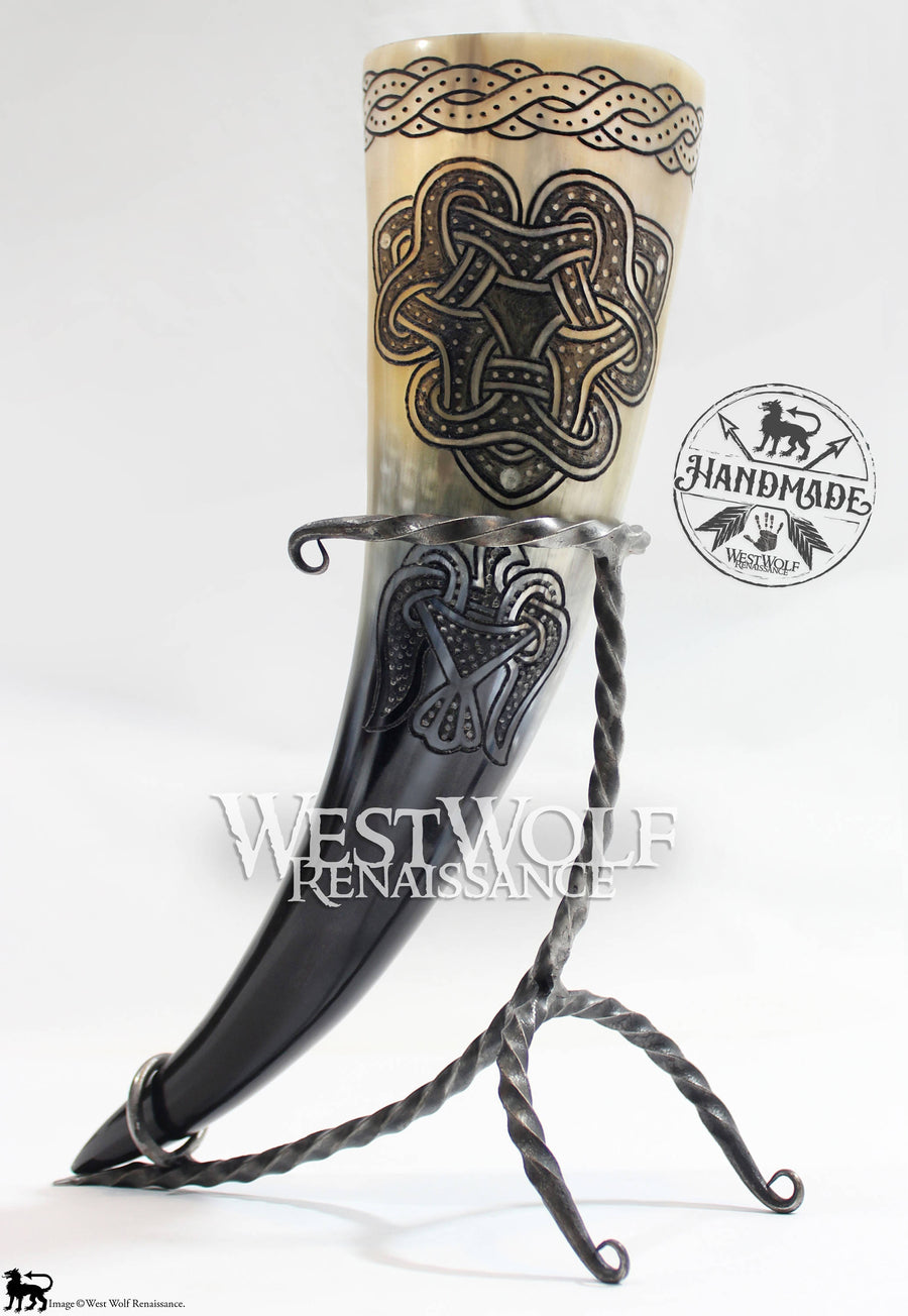 Hand-Carved Viking Raven and Knot Design Drinking Horn + Forged Iron Stand