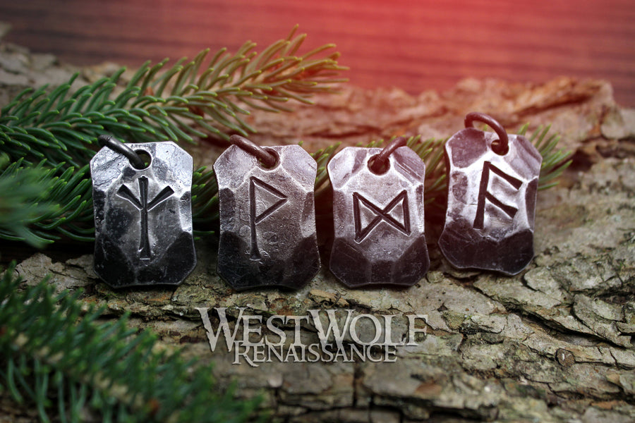 Hand-Forged Viking Rune Pendants - Made of Hammered Steel - Choose Your Talisman