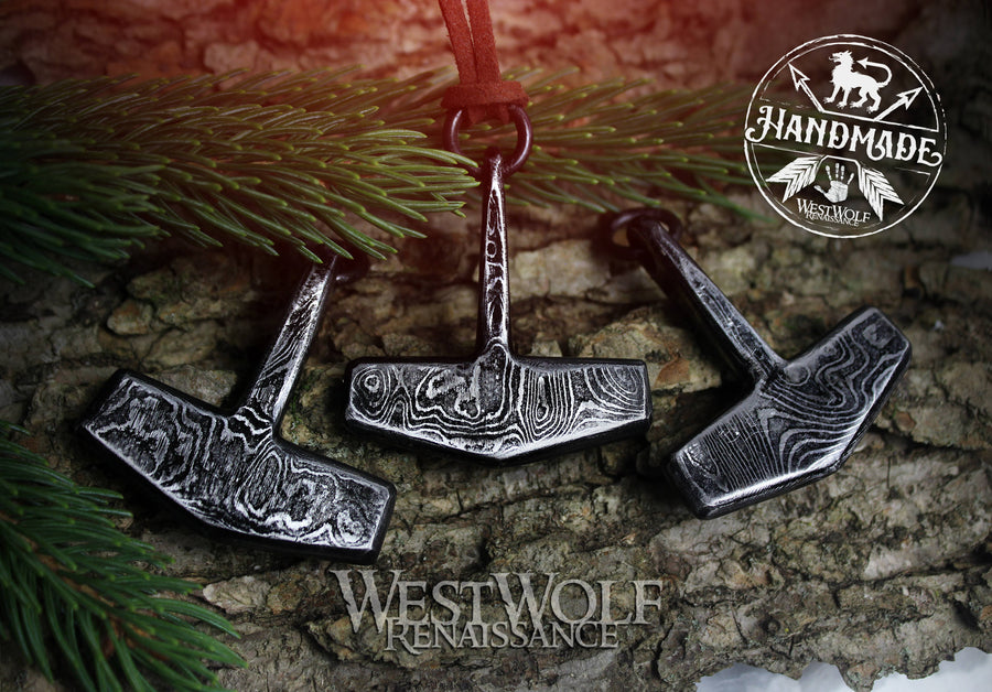 Damascus Steel Thor's Hammer Pendant - Hand-Forged