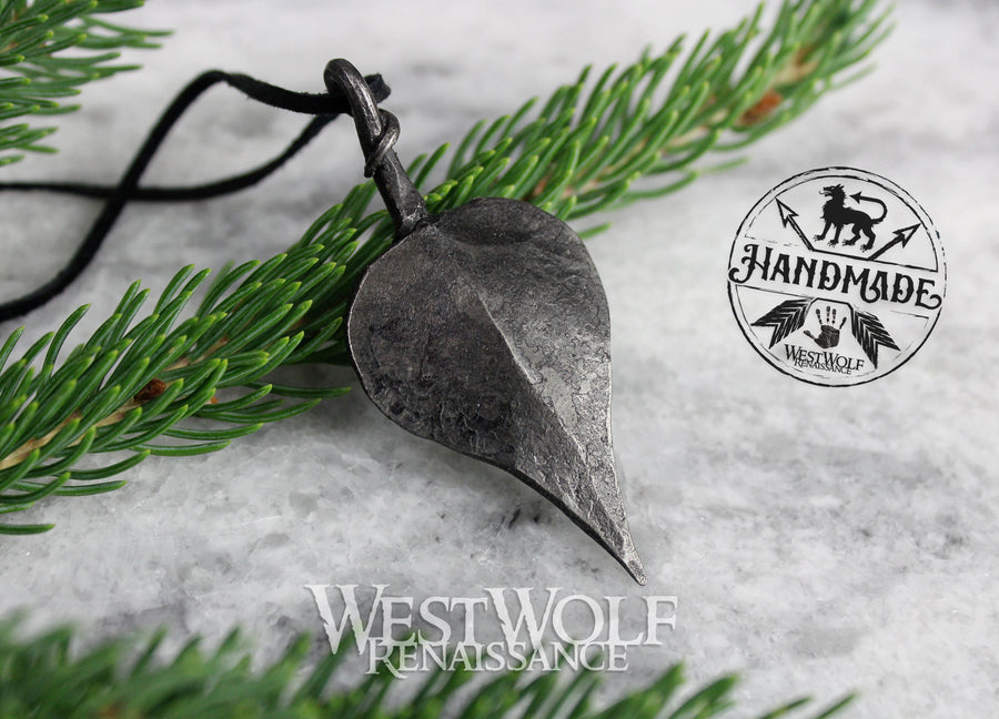 Hand-Forged Iron Leaf Pendant