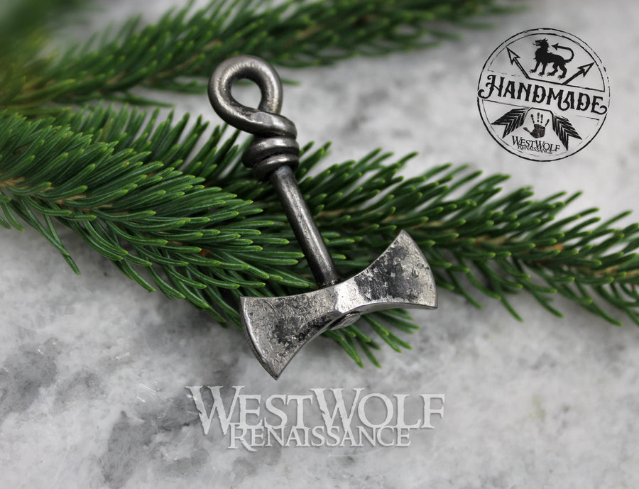 Hand-Forged Steel Viking Axe Pendant