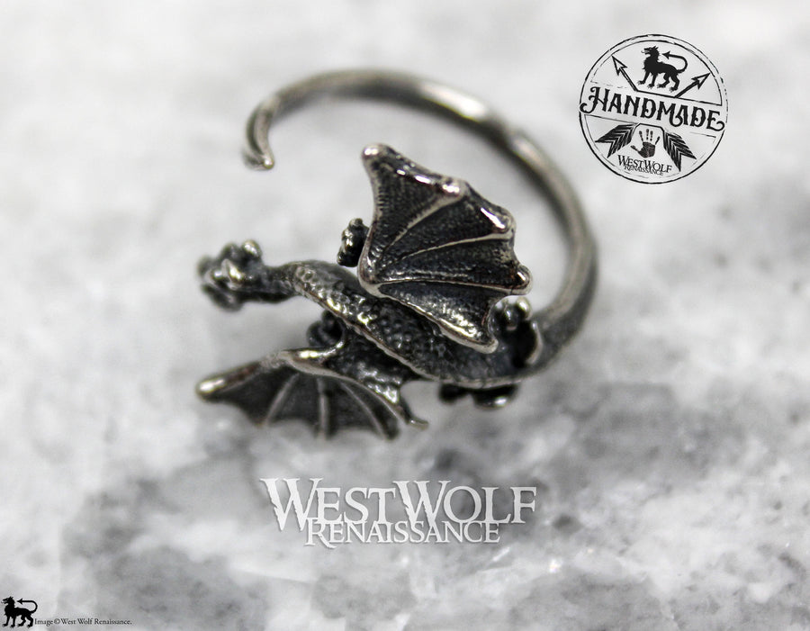 Dragon Ring with Curled Tail Band - Sterling Silver