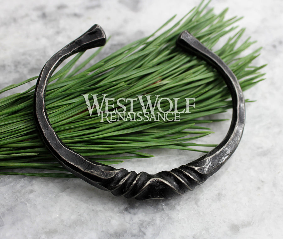 Hand-Forged Twisted Steel Bracelet
