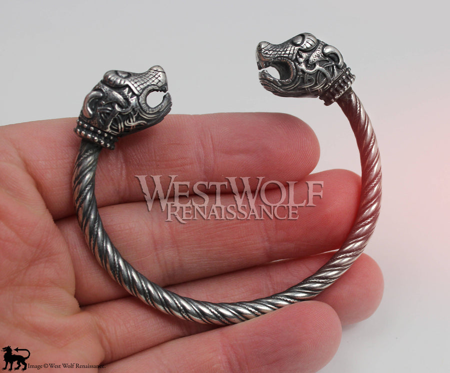 Viking Oseberg Sea Dragon Bracelet - Solid Sterling Silver