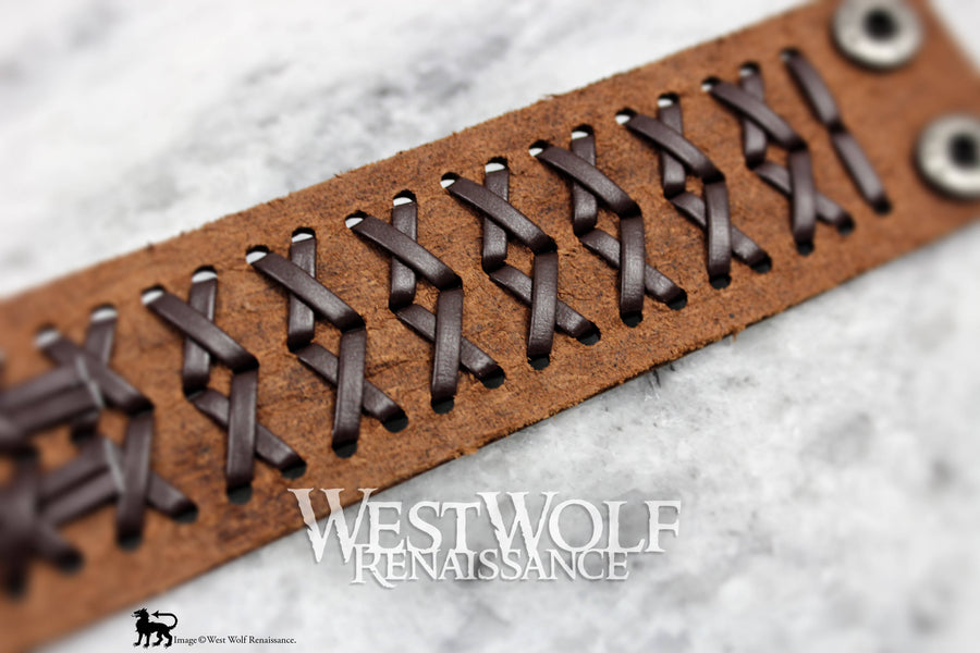 Leather Viking X Bracelet or Wrist Cuff -- Woven Berserker