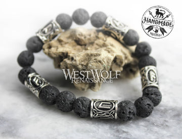Icelandic Black Lava Rock Bracelet with Viking Rune Beads