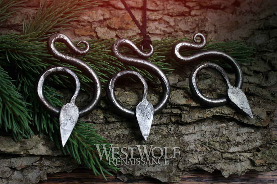 Hand-Forged Steel Serpent Pendant - Hammered Snake