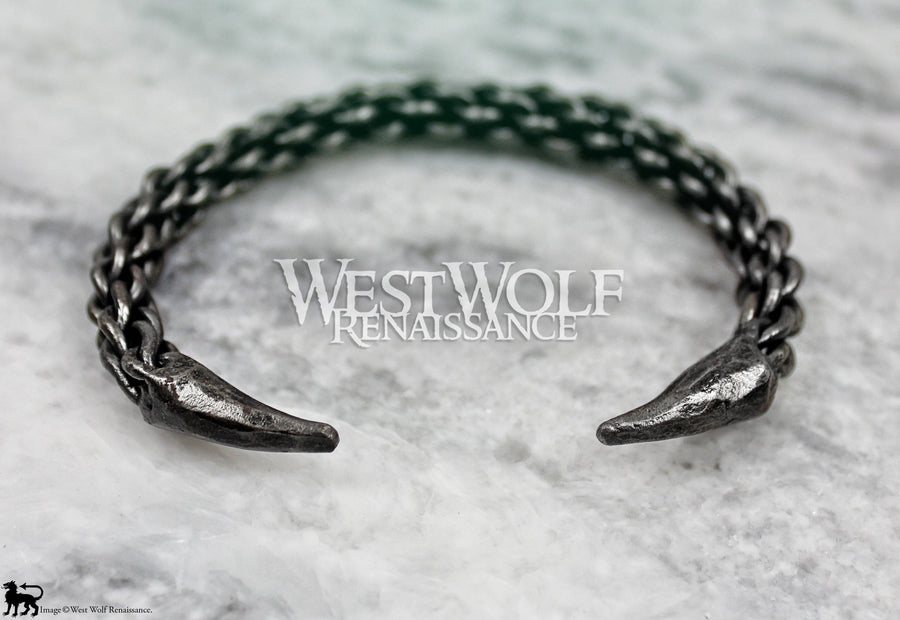 Hand-Forged Braided Steel Claw Bracelet