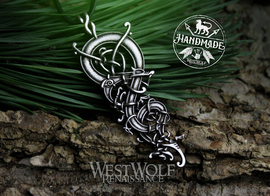 Viking Dragon Pendant with Curled and Knotted Body