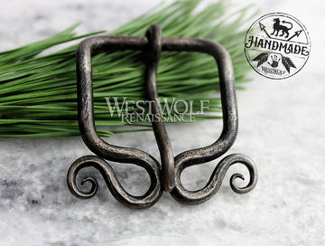 Hand-Forged Viking Belt Buckle with Curled Spirals