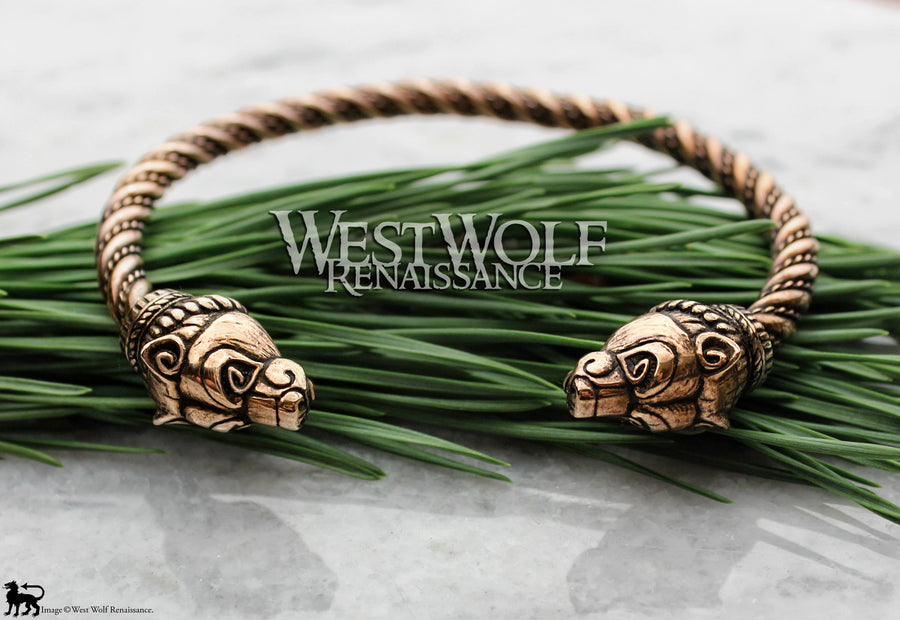 Bronze Viking Bear Bracelet - Berserker Arm Ring with Twisted Bangle