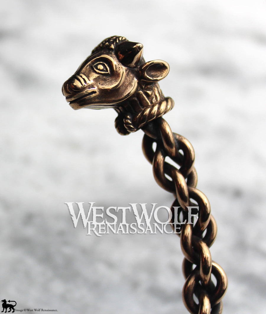 Celtic Bull's Head Torc - Solid Bronze