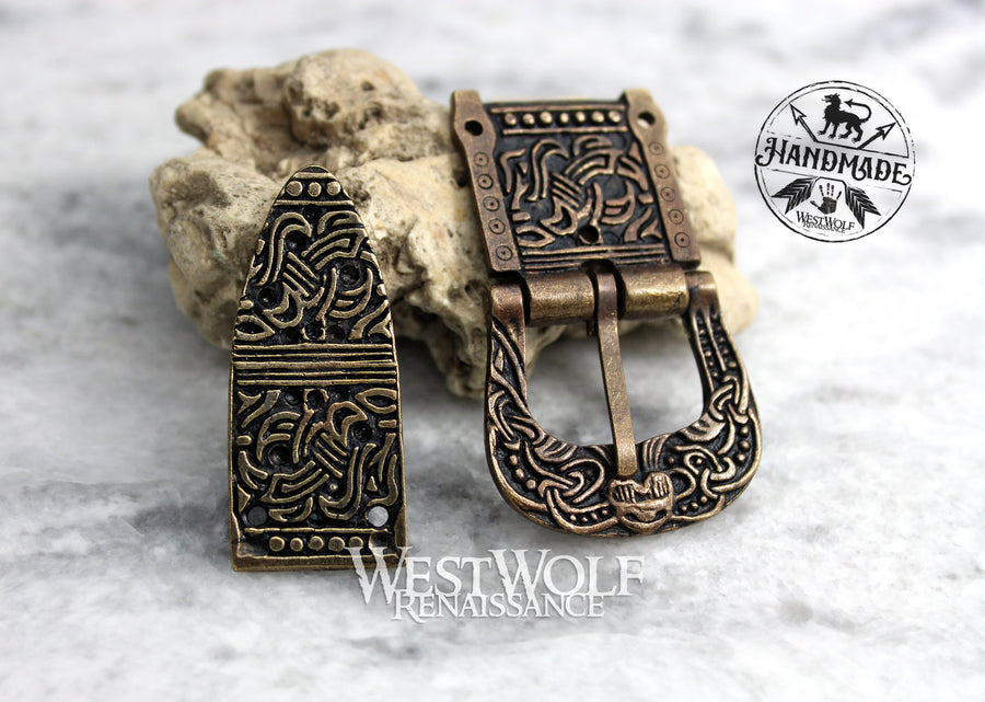 Viking Belt Buckle Set with Matching Rivets