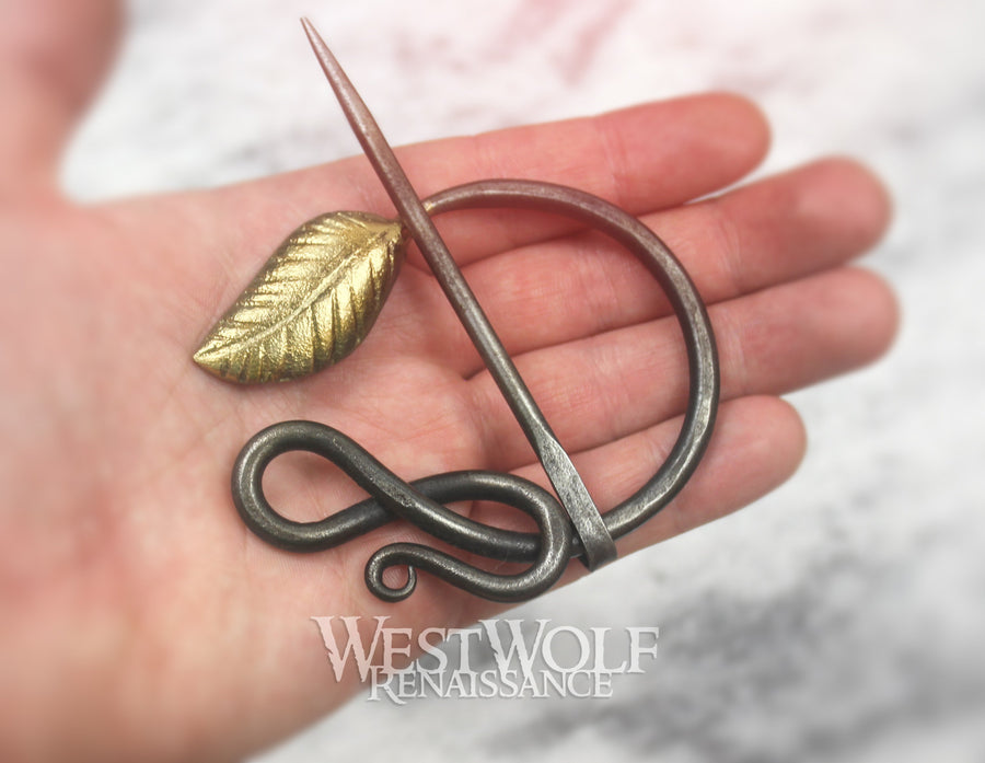Hand-Forged Curled Steel Medieval Brooch with Gold Leaf