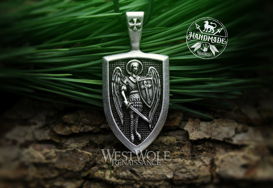 Shield Pendant of Saint Michael the Archangel - Holy Amulet of Protection