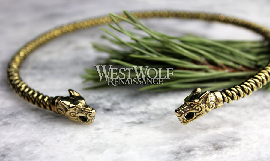 Viking Fenrir Wolf Head Neck Torc with Knit Style Bangle