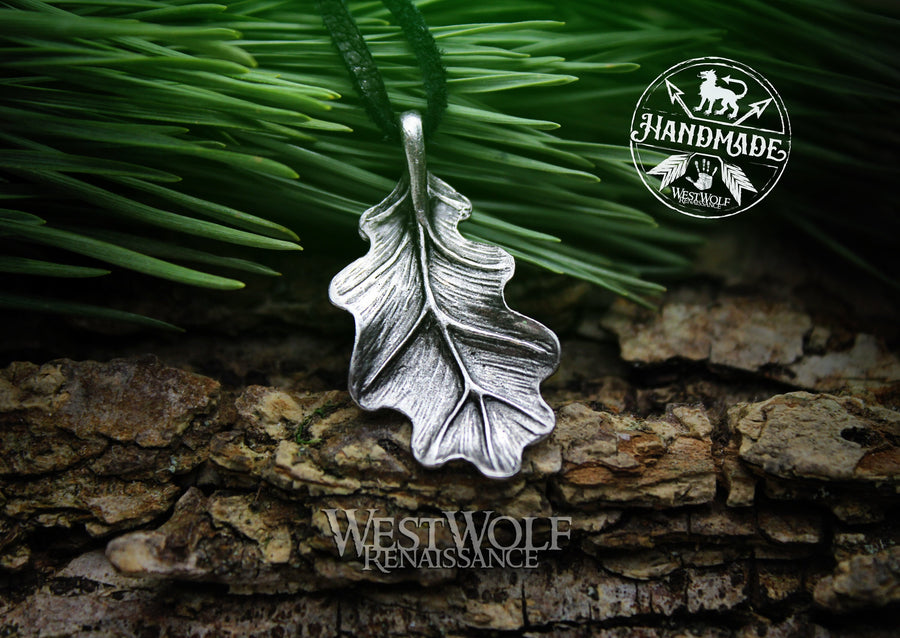 Oak Leaf Pendant in Pewter, Bronze, or Sterling Silver