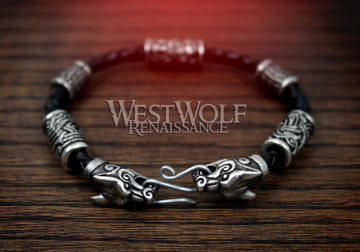Viking Fenrir Wolf Bracelet with Beads & Braided Leather Band