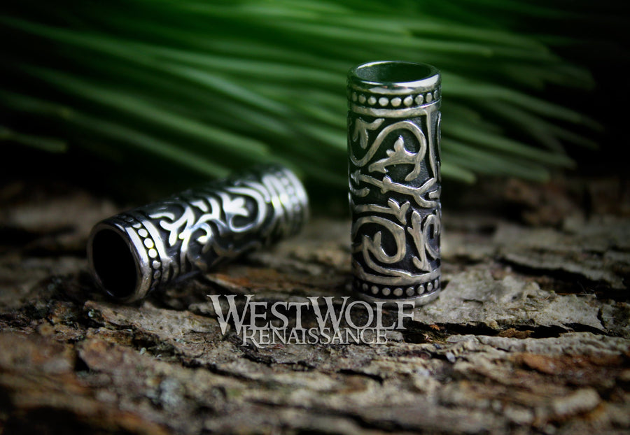 Large Silver Viking Beard Beads