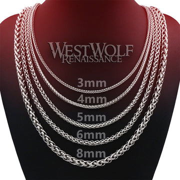 Braided Wheat Style Chains for Pendants in Multiple Sizes - High Quality Stainless Steel