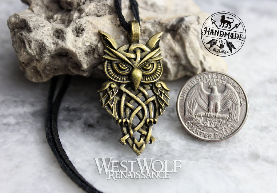 Viking or Celtic Style Owl Pendant in Silver or Bronze