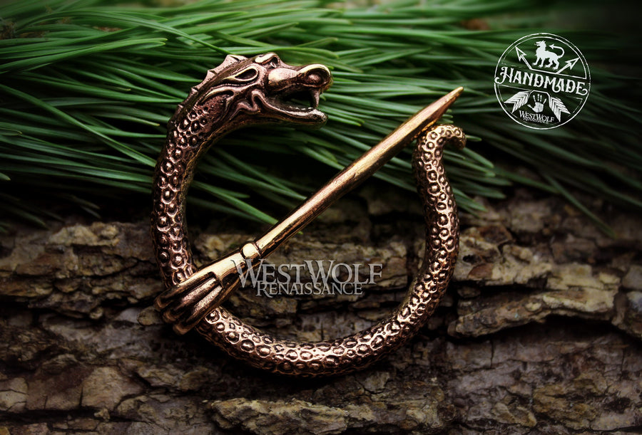 Viking Dragon Nidhogg Brooch in Bronze or Silver