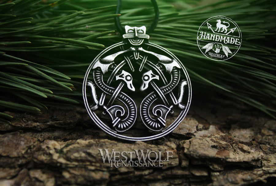 Viking Twin Dragons Pendant - Borre Art Style