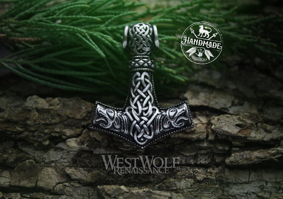 Large Viking Thor's Hammer Mjolnir Pendant - with Bear Heads