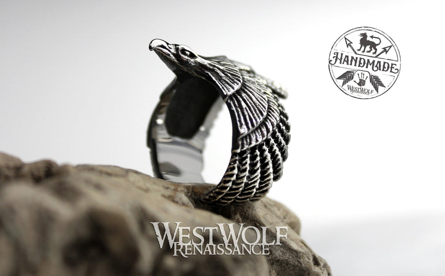 Norse Flying Eagle Ring - Stainless Steel