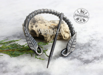 Hand-Forged Twisted Steel Pennanular Leaf Brooch