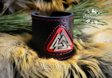 Leather Viking Valknut Bracelet or Wrist Cuff - Stitched Black & Red Leather