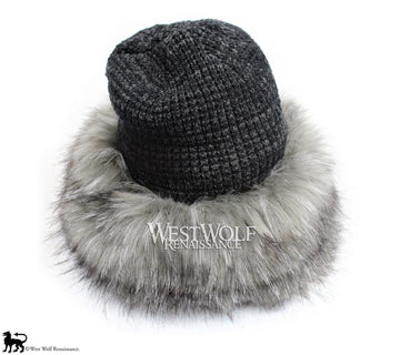 Grey Fox Fur Viking Hat with Woven Dark Grey Knit Top