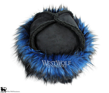 Blue and Black Dyed Fox Fur-Trimmed Viking Hat with Black Suede Top