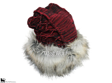 Silver Fox Fur Viking Hat with Woven Wine Red Knit Top