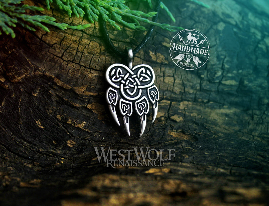 Knotted Wolf Paw Pendant in Silver or Gold - Viking or Celtic Style