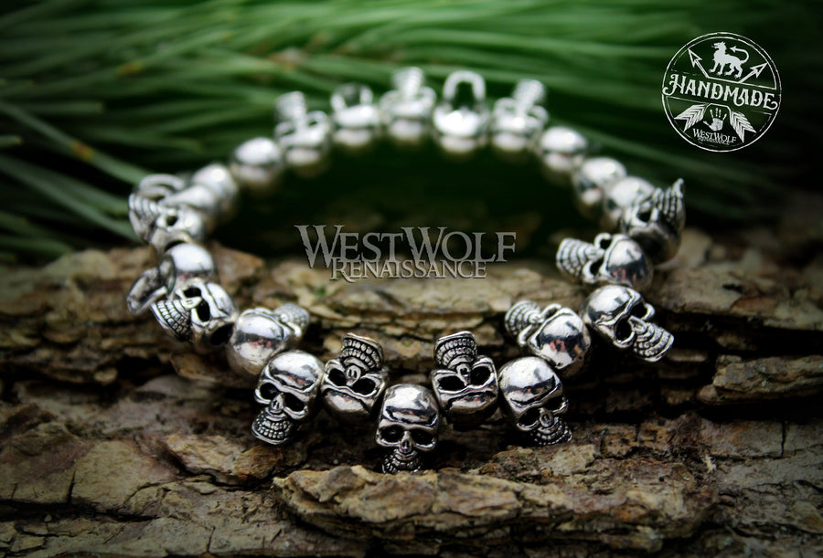 Gothic Skull Bead Bracelet - Adjustable Stretch Band Style