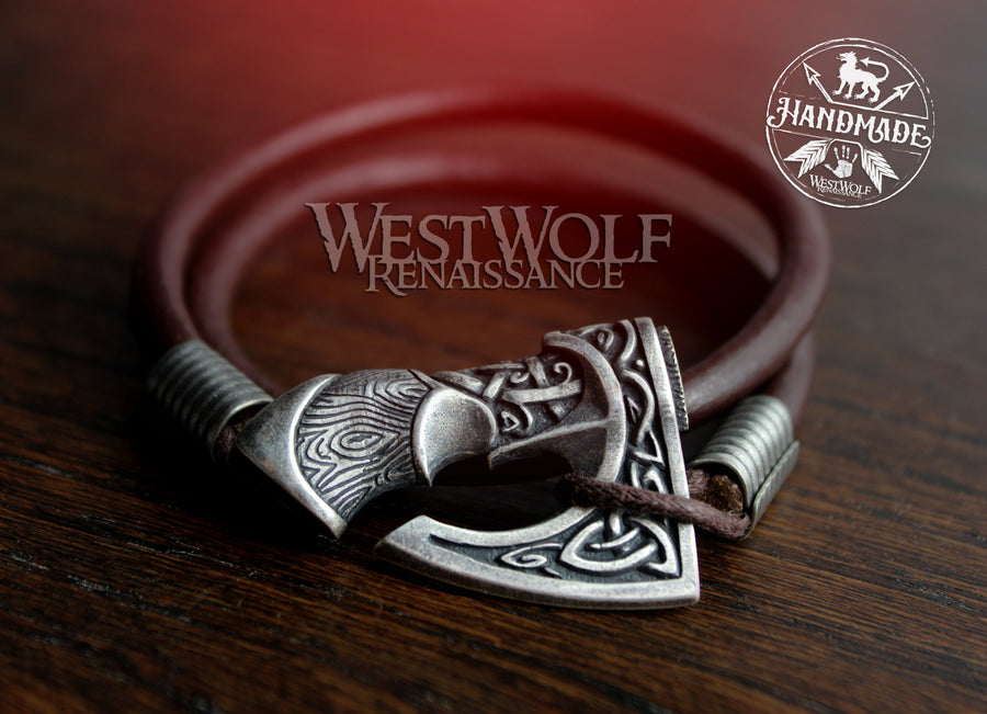 Viking Leather Axe Bracelet in Multiple Sizes - Perun's Axe Wristband