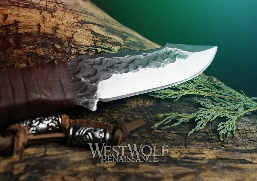 Hand-Forged Steel Viking Knife with Full-Tang Blade and Beads