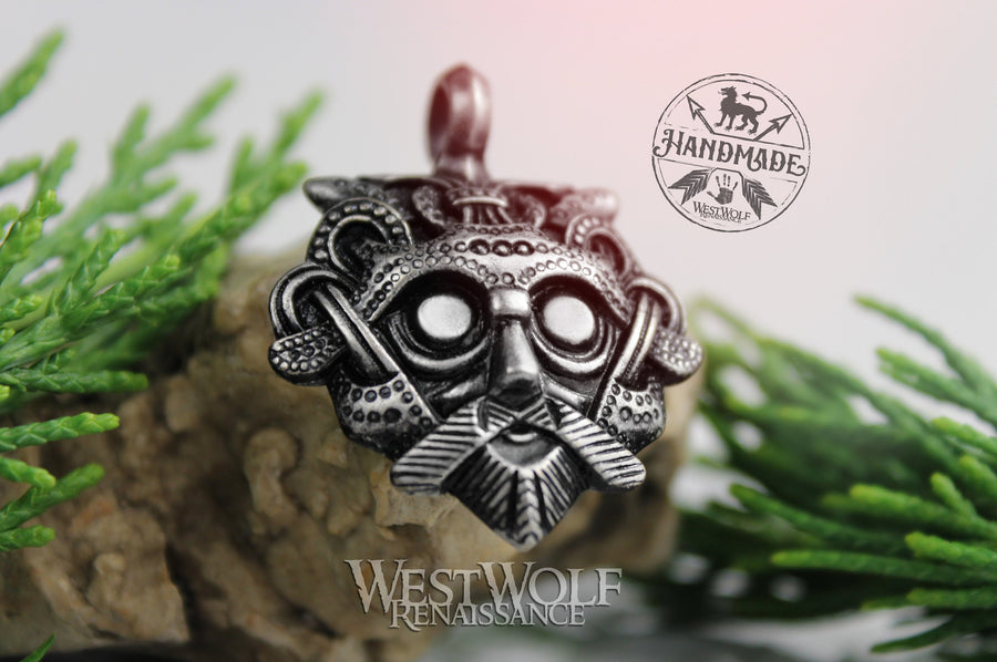 Viking Mask of Odin Pendant - in Pewter, Bronze, or Sterling Silver